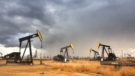 Pumpjacks in an oil field.