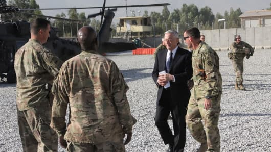 US Defense Secretary Jim Mattis arrives at Forward Operating Base Gamberi east of Kabul, Afghanistan, on an unannounced visit to the war-torn country on September 27, 2017.