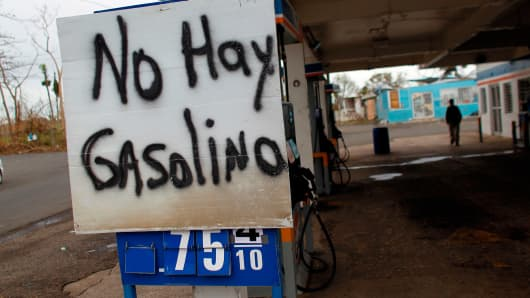 A sign that reads in Spanish 'No Gas' is seen at a gas station in the aftermath of Hurricane Maria, in Morovis, Puerto Rico, September 30, 2017.