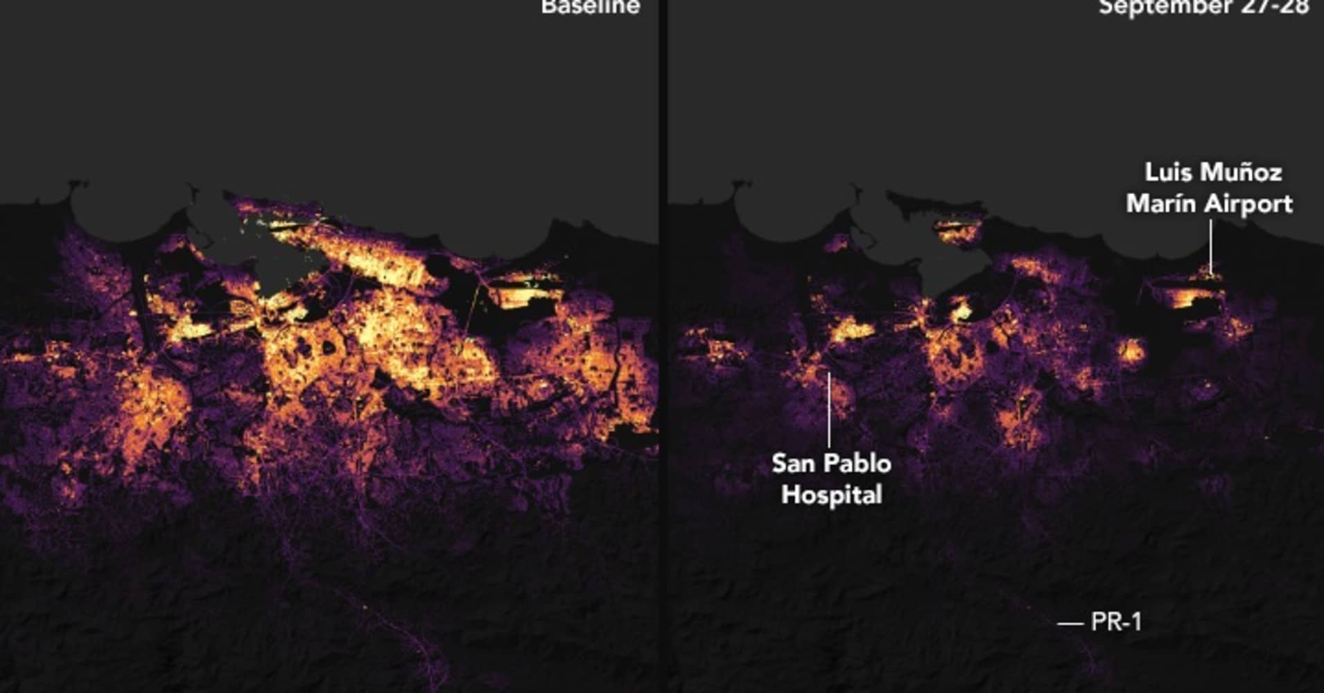 For the first time ever, NASA used its Black Marble technology to aid in disaster response. The image shows electric activity before and after Hurricane Maria devastated Puerto Rico.