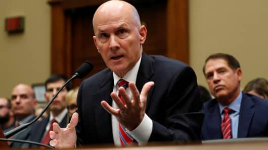 "Richard Smith, former chairman and CEO of Equifax Inc., testifies before House Energy and Commerce hearing on ""Oversight of the Equifax Data Breach: Answers for Consumers"" on Capitol Hill in Washington, U.S., October 3, 2017."