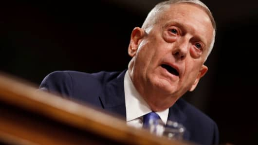 "Secretary of Defense James Mattis testifies before a Senate Armed Services Committee hearing on the ""Political and Security Situation in Afghanistan"" on Capitol Hill in Washington, October 3, 2017."