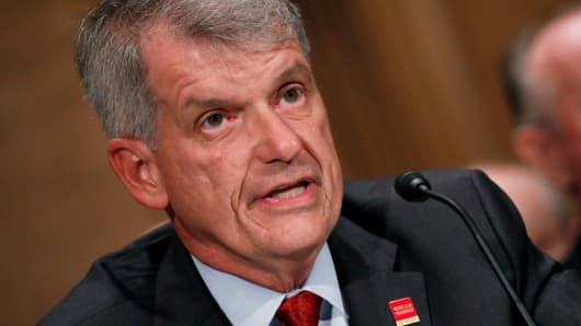 Wells Fargo & Company CEO and President Tim Sloan testifies before the Senate Banking Committee on Capitol Hill in Washington, October 3, 2017.