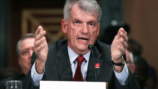 CEO and President of Wells Fargo & Company Timothy Sloan testifies during a hearing before Senate Banking, Housing and Urban Affairs Committee October 3, 2017 on Capitol Hill in Washington, DC.