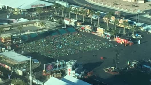View from the 60th floor from the Mandalay Resort hotel of the concert grounds where 59 people where shot and killed and over 500 injured.
