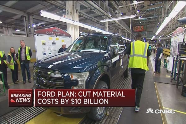 Ford: Cut material costs by $10 million