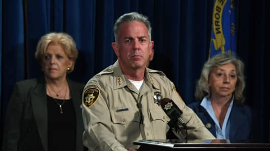 Clark County Sheriff Joe Lombardo at a news conference at the Las Vegas Metropolitan Police Department HQ on Oct. 2, 2017 in Las Vegas, Nevada.