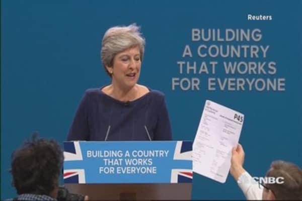 Prankster interrupts British PM Theresa May's speech