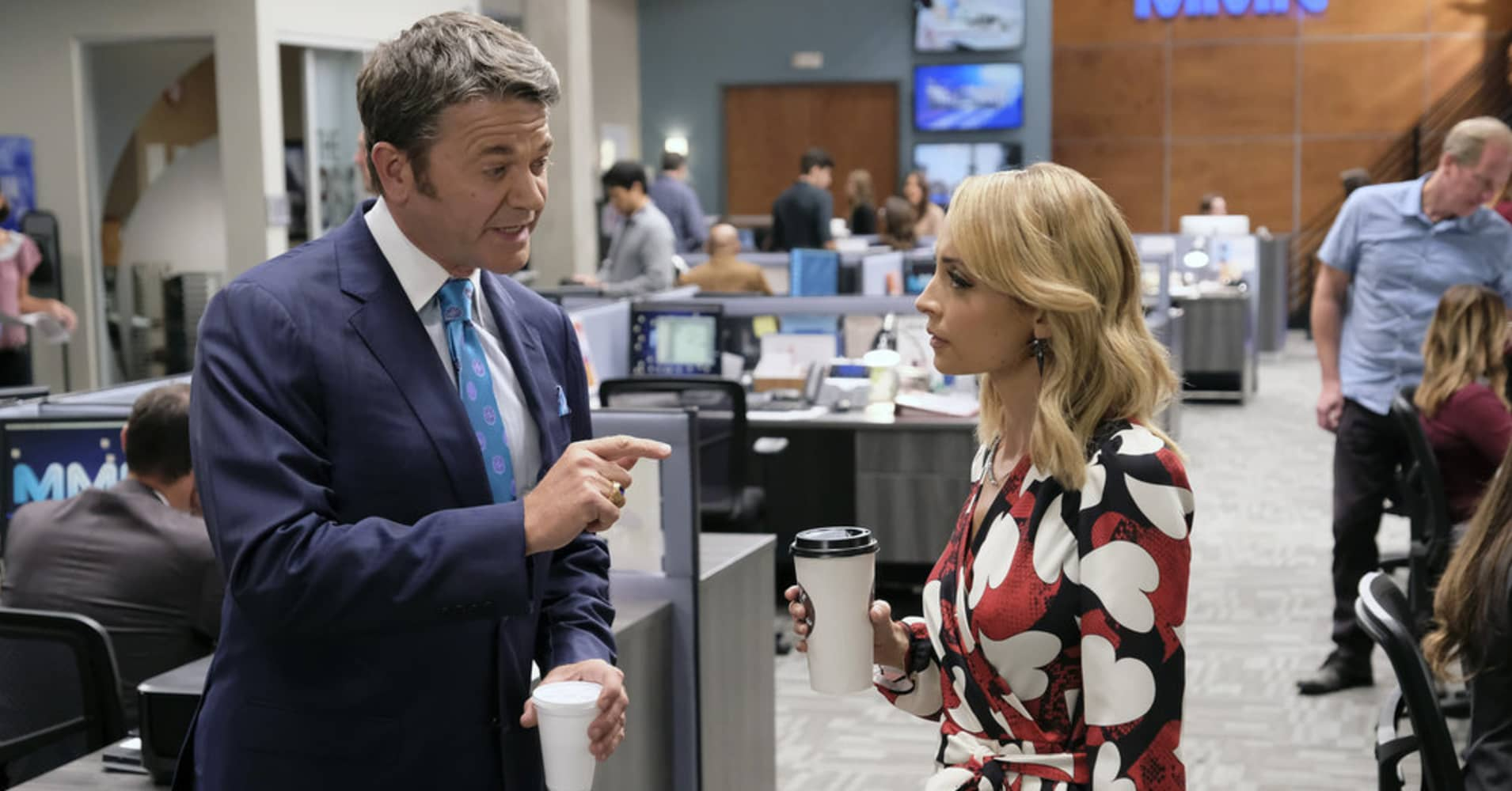 "GREAT NEWS -- ""Squad Feud"" Episode 202 -- Pictured: (l-r) John Michael Higgins as Chuck, Nicole Richie as Portia -- (Photo by Tyler Golden/NBC)"