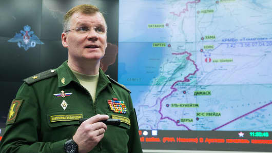 Spokesman for the Russian Defence Ministry Igor Konashenkov gives a briefing on US strikes against Shayrat air base in Syria last April.