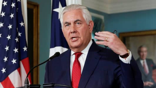 Secretary of State Rex Tillerson makes a statement to the media that he is not going to resign, at the State Department in Washington, October 4, 2017.