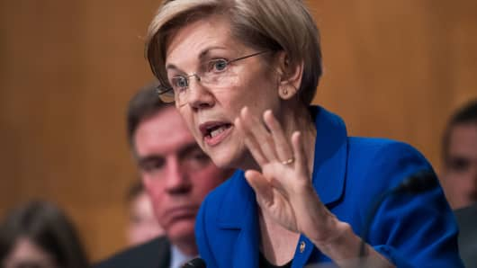 Sen. Elizabeth Warren, D-Mass., during a Senate Banking, Housing and Urban Affairs Committee hearing on October 4, 2017.