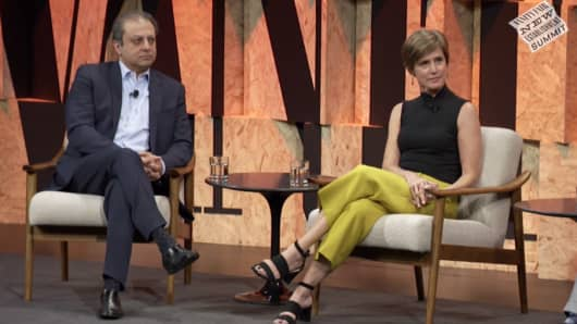 Preet Bharara, former United States Attorney for the Southern District of New York and former US Attorney Sally Yates speaking at the Vanity Fair New Establishment Summit on Oct. 4th, 2017.
