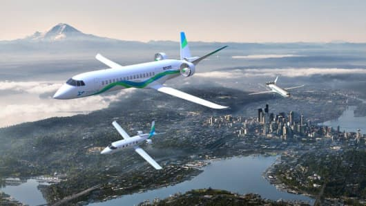 Artist rendering of Zunum Aero aircraft flying over Seattle