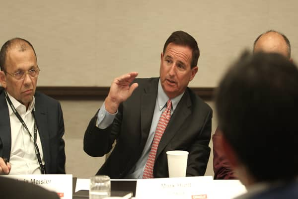 Mark Hurd speaks at a roundtable with Oracle customers on Oct. 3, 2017