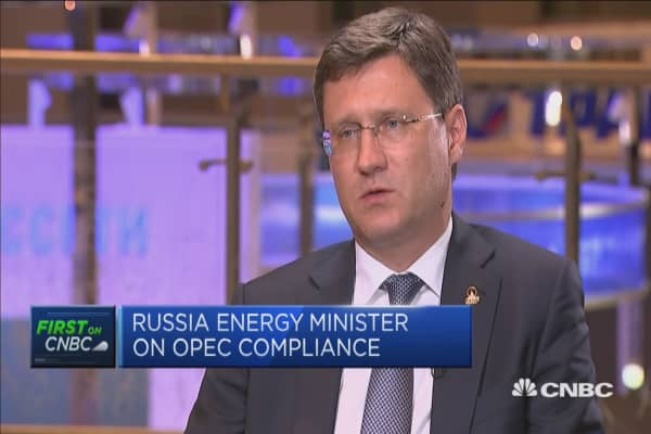 OPEC compliance at 'almost 100 percent': Russia energy minister
