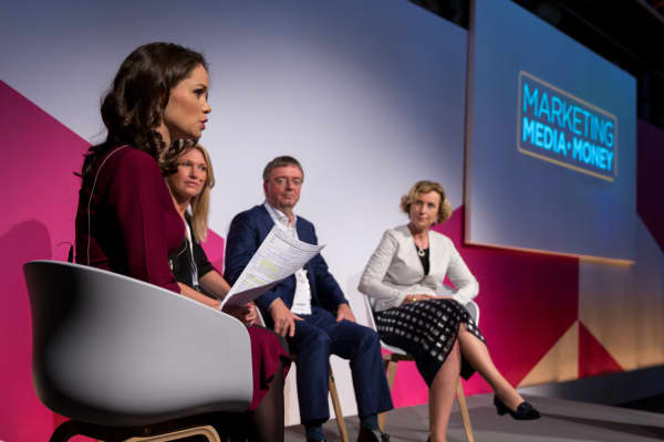 CNBC's Carolin Roth with Claire Cronin, senior VP marketing at Virgin Atlantic, Philip Almond, director of marketing and audiences at the BBC and Julie Woods-Moss, chief marketing and innovation officer at Tata Communications