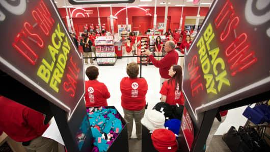 Target Team members meet before Black Friday in Chicago.