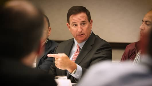 Oracle CEO Mark Hurd at a roundtable during the company's OpenWorld conference in San Francisco on Oct. 3, 2017.