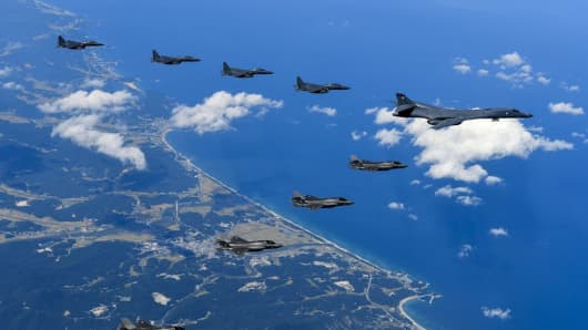 Air Force and Marine Corps aircraft conduct a mission with the South Korean air force over the Korean Peninsula, Sept. 18, 2017.