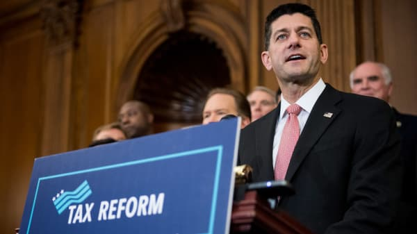 House Speaker Paul Ryan speaks at the unveiling of the GOP tax reform plan at the Capitol, Sept. 27, 2017.