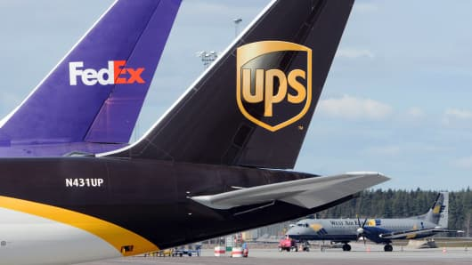 Cargo aircrafts from UPS and FedEx.