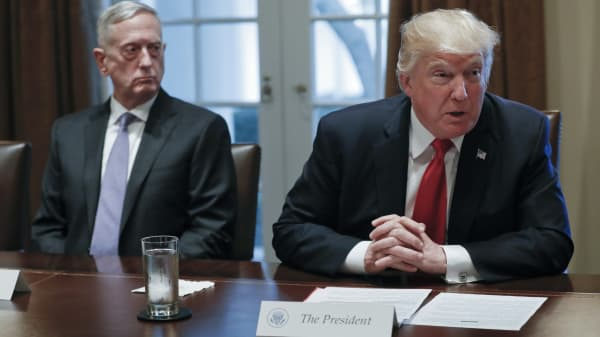President Donald Trump speaks during a briefing with senior military leaders in the Cabinet Room of the White House in Washington, Thursday, Oct. 5, 2017. Sitting on the left is Defense Secretary Jim Mattis.