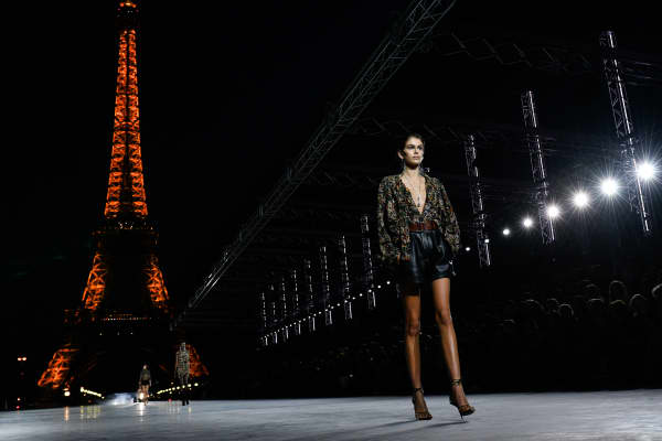 Kaia Gerber walks the runway during the Saint Laurent show as part of the Paris Fashion Week