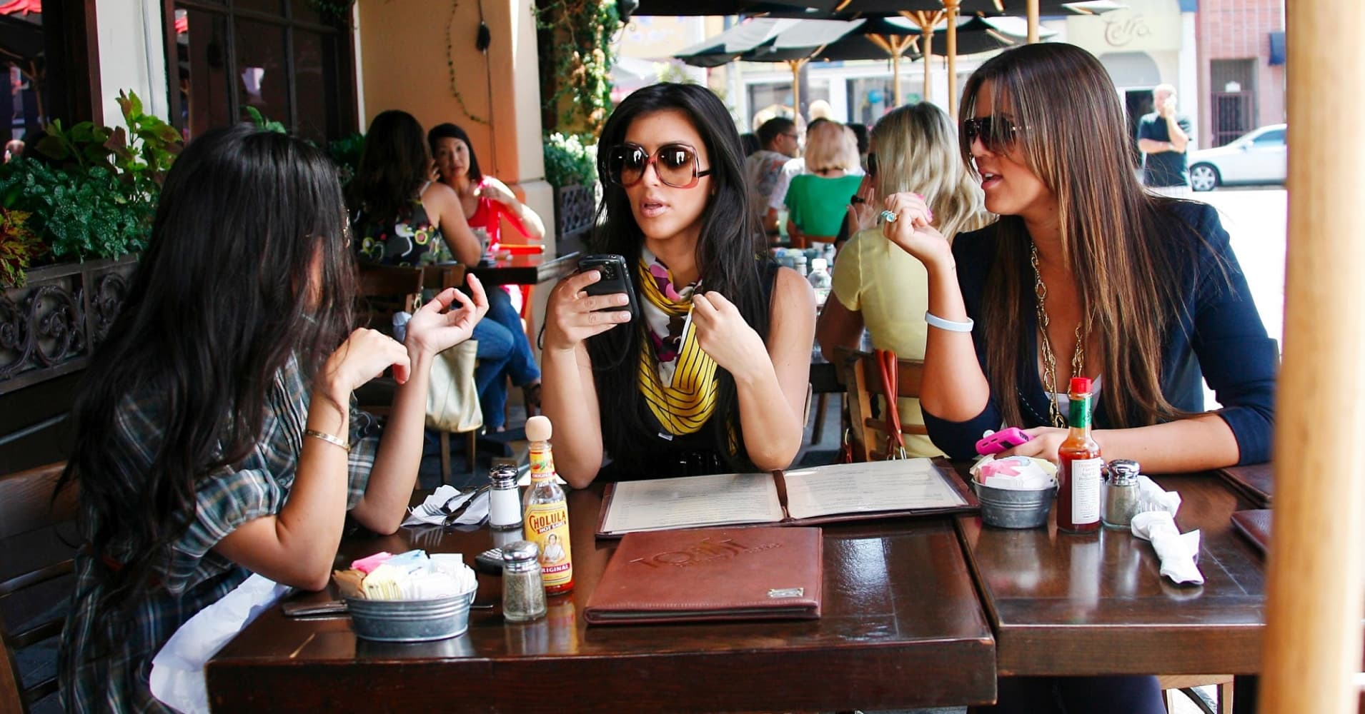 The Kardashian sisters Kim, Khloe, and Kourtney out for lunch in 2008.