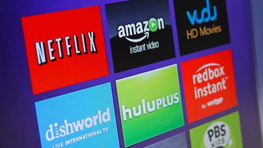 Streaming player menu screen featuring Netflix, Amazon, Vudu, Hulu, and Redbox Instant.