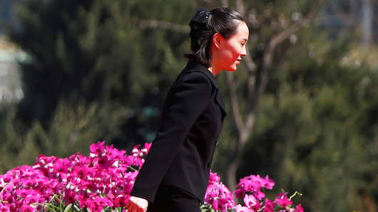 Kim Yo Jong, sister of North Korean leader Kim Jong Un, attends an opening ceremony of a newly-constructed residential complex in Pyongyang, on April 13, 2017.
