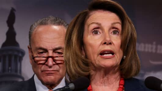 House Minority Leader Nancy Pelosi (D-CA) and Senate Minority Leader Chuck Schumer (D-NY)