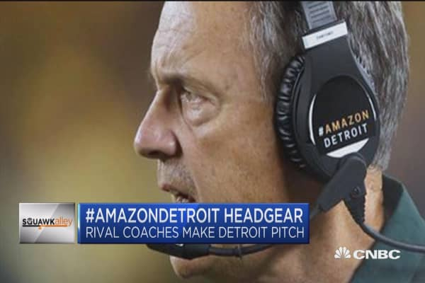 Football coaches help Detroit make push for second Amazon headquarters