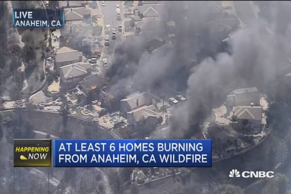At least 6 homes burning from Anaheim, CA wildfire