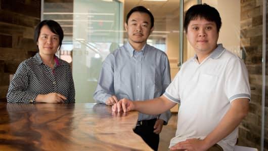 Petuum co-founders: Ning Li, Eric Xing and Qirong Ho