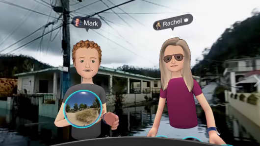 "Facebook CEO Mark Zuckerberg used the ""Spaces"" virtual reality product to transport his 3-D avatar to hurricane-hit Puerto Rico."