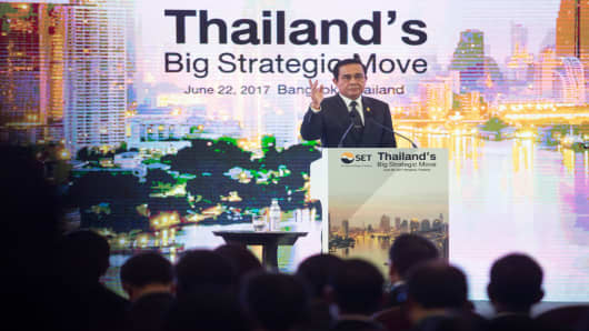 Prayuth Chan-ocha, Thailand's prime minister, speaks during the 'Thailand's Big Strategic Move' forum in Bangkok, Thailand, on June 22, 2017.