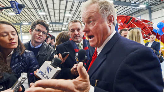 In this Jan. 11, 2017, file photo, Pa. state Sen. Scott Wagner, a Republican from York County and owner of trash hauling firm Penn Waste, speaks to reporters after formally announcing he will run for Pennsylvania governor in 2018, during an event at a Penn Waste facility in Manchester, Pa.