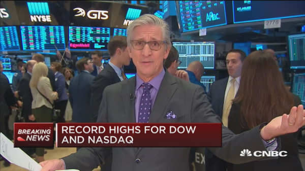 Dow, Nasdaq open at record high