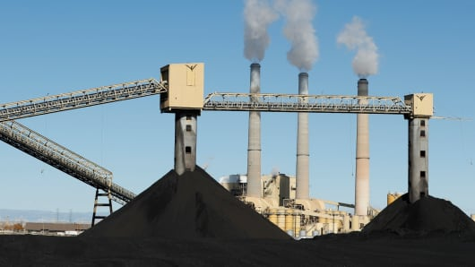 Piles of coal sit in front of Pacificorp's 1440 megawatt coal fired power plant on October 9, 2017 in Castle Dale, Utah.
