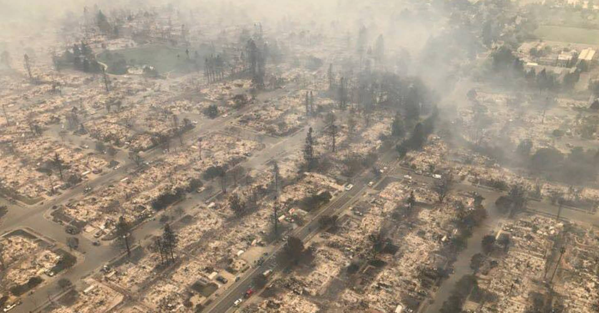 An aerial photo of the devastation left behind from the North Bay wildfires north of San Francisco.