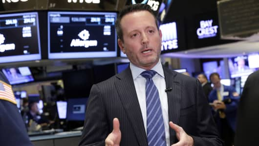 Allergan CEO Brent Saunders is interviewed on the floor of the New York Stock Exchange.