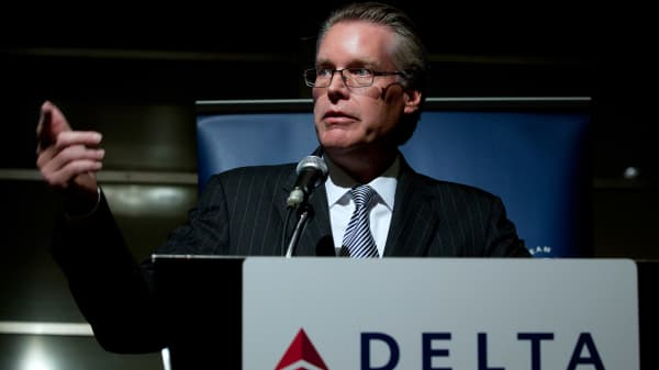 Edward Bastian, president of Delta Air Lines Inc., speaks during a news conference in Tokyo, Japan.