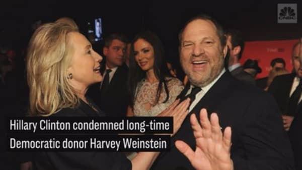 Hillary Clinton condemns Harvey Weinstein