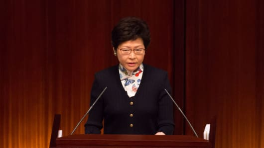 Carrie Lam, Hong Kong's chief executive, speaks during a Q&A session in the chamber of the Legislative Council in Hong Kong, China, on July 5, 2017.