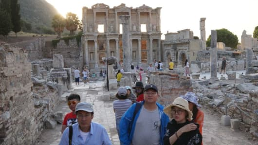 Tourists from China visit Ephesus, an ancient Greek city located near present-day Selcuk, Izmir Province, in Turkey, on Aug. 27, 2017.