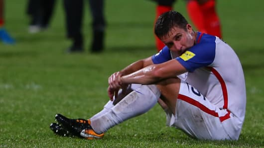 Matt Besler of the United States mens national team reacts as the USA lose to Trinidad and Tobago 2-1.