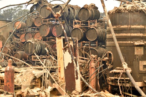 Burned wine barrels are seen at a destroyed Paradise Ridge Winery in Santa Rosa in California on October 10, 2017.