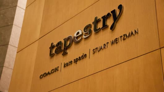 The new company name Tapestry at the headquarters of former Coach Inc.