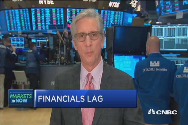 Financials lag as markets open mixed